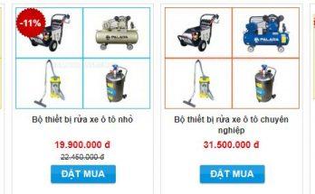 Bộ thiết bị rửa xe máy ô tô hiện đang được bán tại Điện máy Hoàng Liên