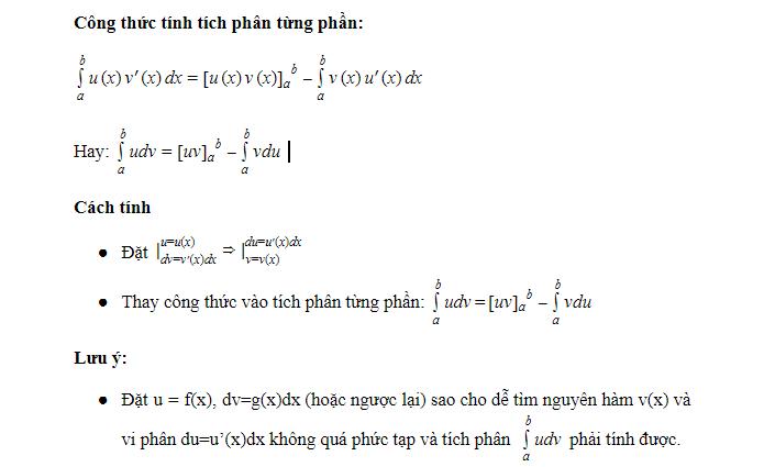 Phương pháp tính của tích phân từng phần
