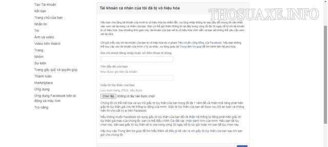 Điền form để liên hệ với Đội ngũ hỗ trợ của Facebook