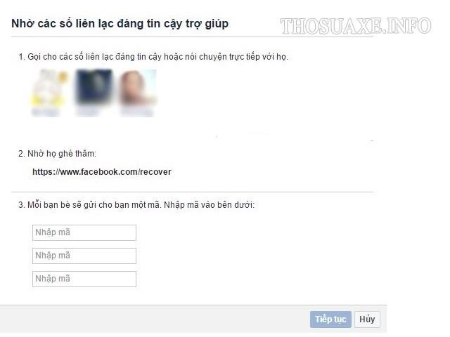 Giao diện lấy lại mật khẩu Facebook bằng Trusted contact