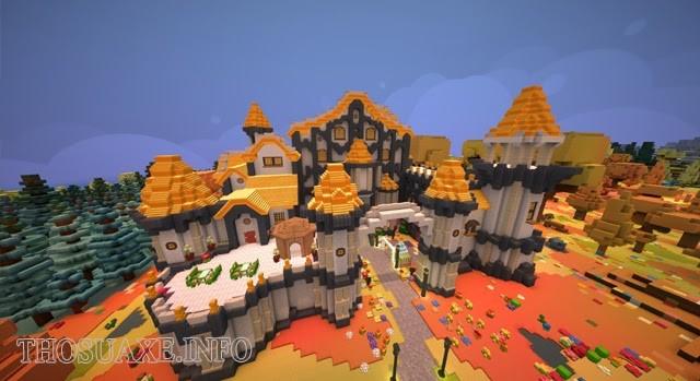 Một nông trại được xây dựng trong tựa game Staxel