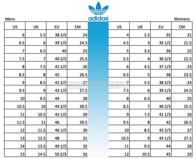 Bảng size giày Adidas