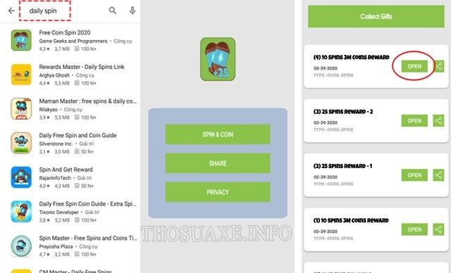 Sử dụng các app nhận thưởng để nhận thêm coin master free spins