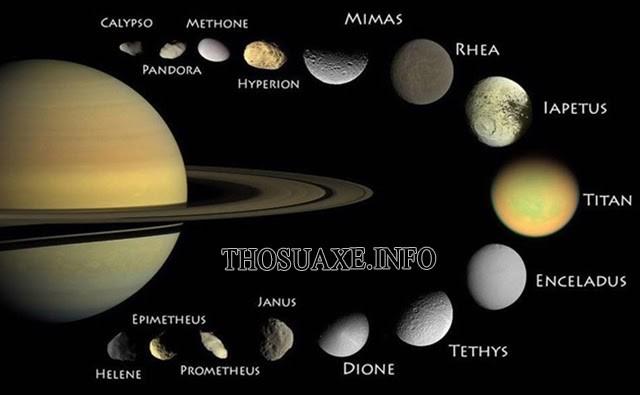 Sao Thổ và các mặt trăng xung quanh