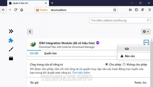 Bật tiện ích IDM trên trình duyệt Mozilla Firefox