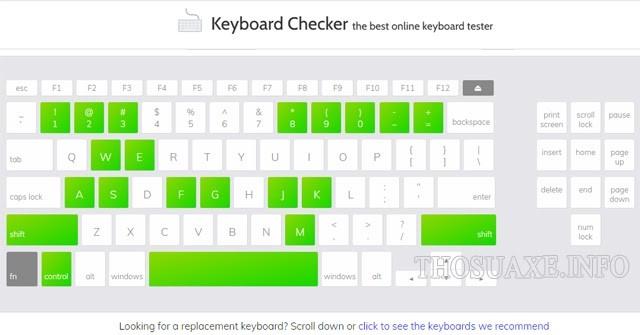 Giao diện của Keyboard Checker