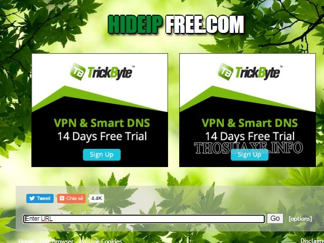 Giao diện của website hideipfree
