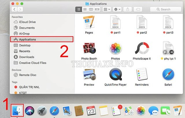 Mở Applications trên Macbook