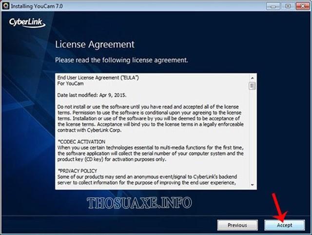 Nhấn Accept để chấp nhận điều khoản sử dụng phần mềm