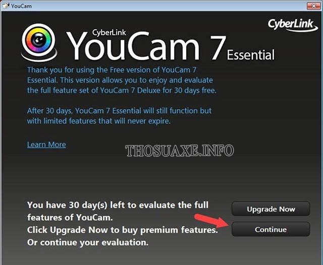 Nhấn Continue để bật camera trên laptop Windows 7