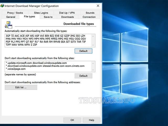 Thêm định dạng file cần tải vào IDM
