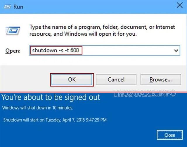 Ví dụ nhập lệnh tắt máy sau 600 giây (10 phút)